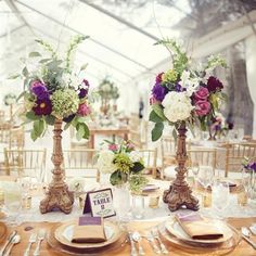 Reception Table florals on gold pedestals