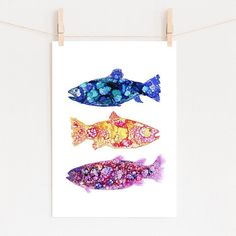 Alcohol ink fish prints - limited number of my fish prints are now available from my Etsy store in various sizes! I have also been asked about custom sizes of… Fish Print, Alcohol Inks, Illustrations And Posters, Etsy Store, Numbers, Illustration Art, My Arts, Prints, Instagram