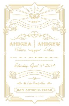 Wedding invitation by Drew Lakin on Dribbble.