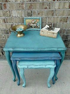 Shades of Turquoise - Painted Nesting Tables Hand Painted Furniture, Distressed Furniture, Paint Furniture, Repurposed Furniture, Furniture Projects, Furniture Making, Furniture Makeover, Vintage Furniture, Furniture Inspiration
