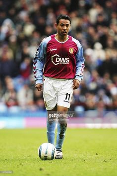 Nolberto Solano of Villa is fouled by Franck Queudrue of Boro during the Barclays Premiership match between Aston Villa and Middlesbrough at Villa Park on March 2005 in Birmingham, England. Football Shirts, Football Players, Super Club, Aston Villa Fc, Villa Park, Birmingham England, Middlesbrough, Soccer, Futbol