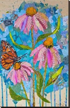 Wildflowers / / collage on cradled panel / ©St.Hilaire Nelson collage and paint by Elizabeth St. Paper Collage Art, Paper Art, Collage Collage, Nature Collage, Magazine Collage, Magazine Art, Arte Pop, Mixed Media Collage, Art Plastique