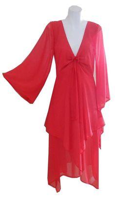 VINTAGE HARAH DESIGNS  CHIFFON MID CALF 70s kimono MAXI DRY CLEAN ONLY dress RED Huge Sale, Wrap Dress, Dress Red, Designer Dresses, Kimono, Chiffon, Best Deals, Vintage, Fashion