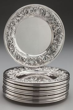 SET OF FOURTEEN KIRK & SON SILVER BREAD AND BUTTER PLATES, Baltimore, Maryland, circa 1868-1890 Marks: S. KIRK & SON, STERLING.
