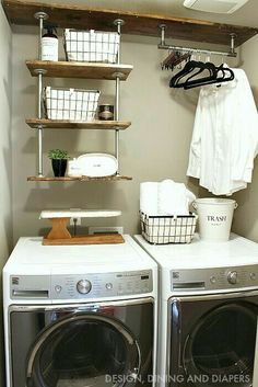 Top 40 Small Laundry Room Ideas and Designs 2018 Small laundry room ideas Laundry room decor Laundry room storage Laundry room shelves Small laundry room makeover Laundry closet ideas And Dryer Store Toilet Saving Tiny Laundry Rooms, Laundry Room Shelves, Laundry Room Organization, Laundry Room Design, Laundry In Bathroom, Organization Ideas, Storage Ideas, Shelving Ideas, Laundry Area