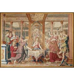 Rare Ancient Tapestry, Psyche's Meal in the Palace of Cupid, circa 1660.