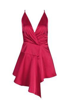 'Teige' Draped Satin Dress - Red