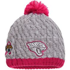 cc629fad135a3 Women s New Era Gray Pink Jacksonville Jaguars Breast Cancer Awareness Knit  Beanie