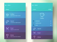 Menu Interface – Know Associates Menu Interface app visual design cards panes material interface. low volume cool color subtle shaded color and line icons. Dashboard Design, Visual Design, Interaktives Design, App Ui Design, Layout Design, Design Cards, Design Concepts, Flat Design, Navigation Design