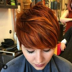 Red hair color describes your pixie haircut in a more nice way. Red color and pixie haircut always compliment each other and you can easily try it, to look. Red Hair Pixie Cut, Red Pixie Haircut, Pixie Hair Color, Short Red Hair, Red Hair Color, Haircut And Color, Short Hair Cuts, Pixie Cuts, Short Hairstyles Over 50