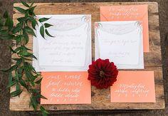coral colored invitation
