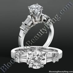 Tiffany Style Engagement Ring with Tapered Baguette and Small Round Side Accent Diamonds - bbrnw6010