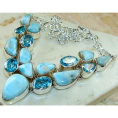 Chunky Necklace with Larimar, and Blue Topaz Gemstone, set in 925 Sterling Silver