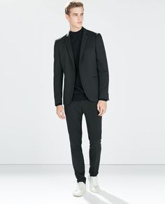 NAVY STRUCTURED WEAVE TECHNICAL BLAZER WITH PIN from Zara