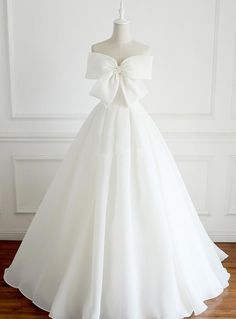 Cheap Magnificent Simple Wedding Dress Simple Organza A Line Wedding Bridal Dresses, Custom Made Wedding Dresses, Affordable Wedding Bridal Gowns,Bow Accent Strapless Chiffon Wedding Gown Featuring Lace-UpWhite Bow Long Prom Dress, White Evening Dres Strapless Prom Dresses, Bridal Dresses, Strapless Organza, Organza Bridal, Quinceanera Dresses, Dress Prom, Wedding Dresses With Bows, Bow Dresses, Organza Dress