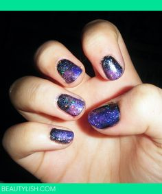 Cute galaxy nail art I tried. Everything turned out far better than expected!