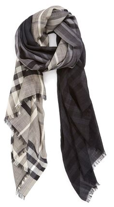 Obsessed with this Burberry 'Ombré Check' Wool & Silk Scarf Winter Typ, Bcbg, Burberry Scarf, Inspiration Mode, Autumn Winter Fashion, Tartan, What To Wear, Style Me, Fashion Accessories