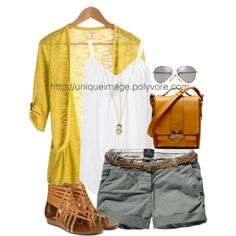 Gray Chino Shorts - Polyvore; cute outfit but would wear different shoes, flip flops or flats: gold, grey, yellow, white, and even animal print.