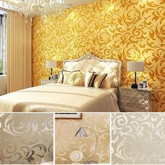 High-end Luxury Embossed Patten/textured Wallpaper Rolls,silver,gold 4 Color (Gold) Asian Paint Design, Asian Paints Wall Designs, Wall Painting Living Room, Living Room Bedroom, Living Room Decor, Girls Bedroom, Bedrooms, Dining Room, Gold Painted Walls