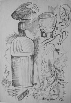 E. Besozzi pitt. 1952 Composizione pennarello su carta cm. 32x22,2 arc. 1196r