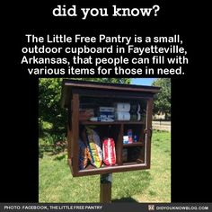 the Little Free Pantry is a small outdoor cupboard in Fayettevilel AK that people can fill will various items for those in need Corporal Work of Mercy Feed the Hungry
