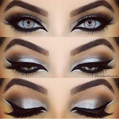 Stunning silver - silver eye make up Gorgeous Makeup, Pretty Makeup, Love Makeup, Makeup Inspo, Makeup Art, Makeup Inspiration, Crazy Eye Makeup, Cat Makeup, Fairy Makeup