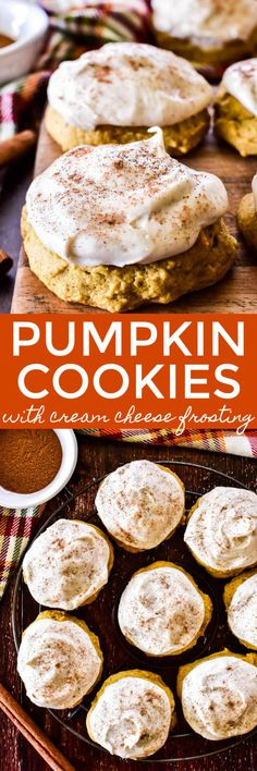 Soft, pillowy Pumpkin Cookies seasoned with fall spices and smothered in cinnamon cream cheese frosting. The perfect mix between cookies and cake... because why choose if you don't have to?