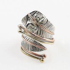 Golden Pyrite Druzy Sterling Silver Three Tone Adjustable Wrap Ring – Keja Designs Jewelry