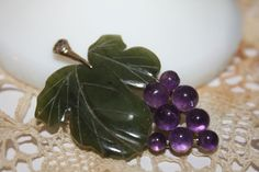 Vintage Exquisite Signed Swoboda Genuine Jade Amethyst Grape Cluster Brooch #Swoboda