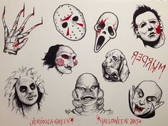 movie tattoos Veronica Green New Tribe Tattoo - movie Flash Art Tattoos, 13 Tattoos, Kunst Tattoos, Body Art Tattoos, Tattoo Drawings, Green Tattoos, Tattoo Sketches, Horror Movie Tattoos, Spooky Tattoos
