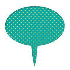 Elegant Polka Dots -Mint & Gold- Cake Topper - individual customized unique ideas designs custom gift ideas