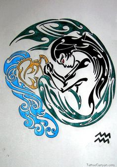 Gorgeous Aquarius Tattoo Design Is One Of The Supreme picture 13679