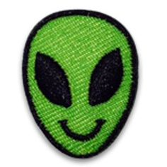 "They come in peace! The Alien hipstapatch® is an embroidered fabric patch that measures approximately 1"" x 1"" with a peel-and-stick adhesive backing. Stick it on your shoes, hat, backpack, cellphone c"