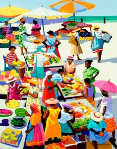 """Shari Erickson - """"Monday Market""""     """"If you go out into the real world, you cannot miss seeing that the poor are poor not because they are untrained or illiterate but because they cannot retain the returns of their labor. They have no control over capital, and it is the ability to control capital that gives people the power to rise out of poverty.""""  ― Muhammad Yunus, Banker to the Poor: Micro-Lending and the Battle Against World Poverty"""