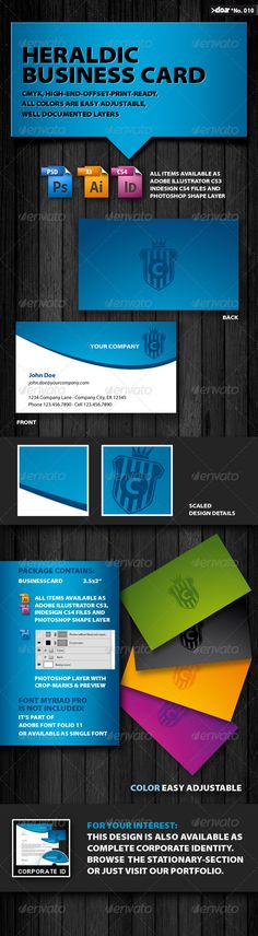 Heraldic Business Card - #Corporate #Business #Cards Download here: https://graphicriver.net/item/heraldic-business-card/138186?ref=alena994