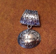 Silvertone Scarf Jewelry with Oval Believe Pendant on Etsy, $8.00