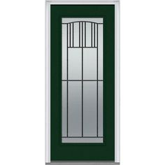 Milliken Millwork 33.5 in. x 81.75 in. Madison Decorative Glass Full Lite Painted Fiberglass Smooth Exterior Door, Rock Garden