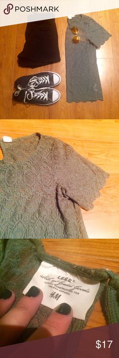 Green Lace Shirt with Scalloped Edging Details Green Lace Shirt with Scalloped Edging Details! Great condition with cute scalloped detailing on the sleeves and bottom of shirt. Perfect with a nude cami or bralette under - brand is H&M L.O.G.G., color is close to olive! H&M Tops