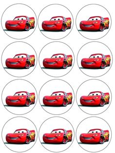 """Single Source Party Supply - 2.5"""" Cars (McQueen) Cupcake Edible Icing Image Toppers"""