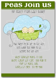Twin Baby Shower Invitation, Printable Invite for Boys or Girls, Two Peas in a Pod, YOU PRINT, More Invitations Available at The Party Stork. $13.00, via Etsy.
