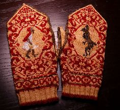 Link to a pattern for purchase - well worth the $1 price! Little Red Cap Mittens are worked in the round.