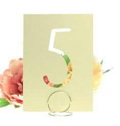 White Gold Shimmer Cardstock Laser Cut Table Number Cards by BellusDesigns.com