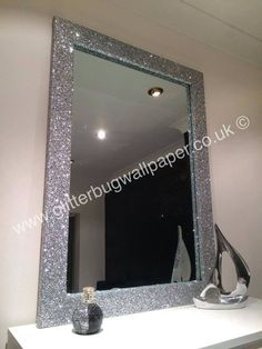 Bedroom Ideas home decor number 8404353861 - Utterly Brilliant help. Glitter Mirror, Diy Mirror, Glitter Walls, Mirror Vanity, Glitter Top, Diy Wallpaper, Glitter Wallpaper, Room Ideas Bedroom, Diy Room Decor