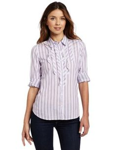 $59.50, Wide stripe long sleeve woven shirt
