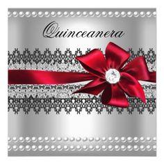 Red Diamond Heart Red Black White Birthday Party Invitation