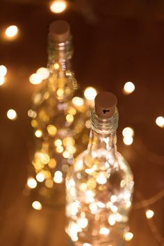 These LED Fairy Lights have cork-shaped battery holders and are perfect for use as wine bottle lights. The copper LED fairy string lights are evenly spaced on bendable wire. They emit static warm white or yellow illumination.