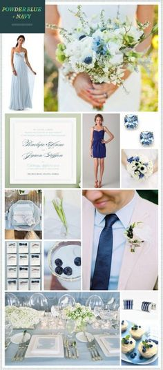 Fresh and romantic, today's Powder Blue + Navy wedding inspiration features traditional soft blue + ivory hues paired with modern pops of navy. A delicate blue wedding gown, chic tablescape, and delicious blueberry lemonade cocktails combine for an elegant and unexpected wedding day!  For more soft blue ideas, take a look at our Peach + Blue Wedding Inspirationand Blue + Ivory posts!