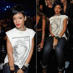 Rihanna at the 2013 MTV Video Music Awards wearing a vintage MC Lyte Ruff Neck t-shirt from Chapel NYC, Rihanna for River Island cuffed boyfriend jeans, Lynn Ban cuffs.