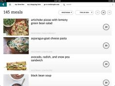 No Time To Cook? Try Real Simple's New iPad App Artichoke Pizza, Vegetarian Types, Goat Cheese Pasta, Cooking App, Black Bean Soup, Ipad App, Real Simple, New Ipad, Weeknight Meals