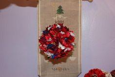 boules de Noël en tissu : Ce sont des boules de polystyrène recouvertes de tissu